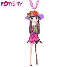 Bonsny Doll Hat Girls Pendant Acrylic Long Chain Dance Necklace Brand Fashion Jewelry For Women 2016 News Style Accessories(China)