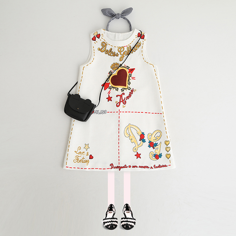 Baby Girls Dresses Autumn&Winter Princess Dress Kids Love Pattern Clothes Baby Girls Clothes 2-9Y