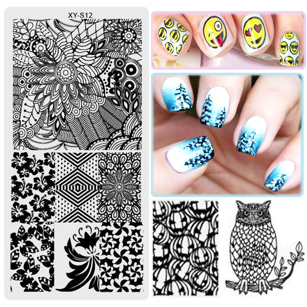 20PCS Christmas Halloween Nail Art Template Floral Cartoon Emoji ...