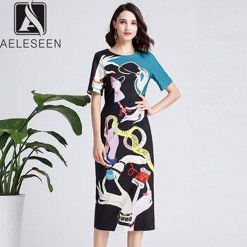 Vestido elegante de verano para mujer de AELESEEN, 2019, estampado a mano, negro, azul, con lentejuelas, decoración de lujo, Color de contraste, vestidos lápiz Midi