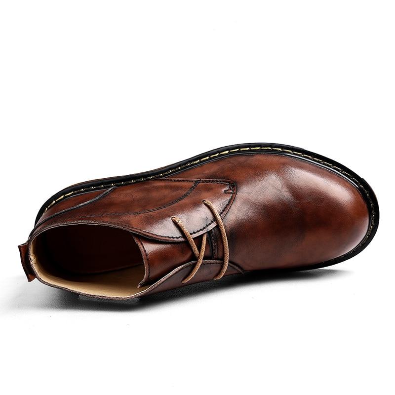 L'eau Fou À Travail Black Automne Main D'hiver Cuir Cheville Martin red Véritable En La Sécurité Preuve Hommes De brown Style Chaussures Bottes Britannique OwYqAxC5RZ