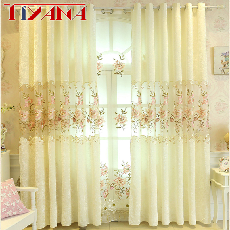 Embroidery Flower Ready Made Velvet European Curtains For Living Room Semi-blinds Tulle Sheer Fabrics Curtains For Bedroom P2312