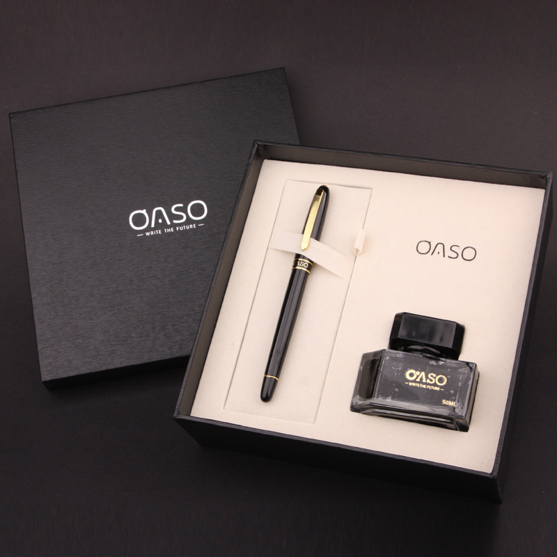 OASO T13 High Quality Metal Fountain Pen Set 0.5mm Nib with A Bottle Ink In Gift Case Luxury Ink Gift Pens for Business hero 382 kawaii pink and gold clip 0 5mm iridium nib fountain pen set with a bottle ink metal pens for business christmas gift