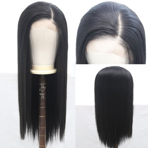 Image 4 - Bombshell Black Pink White Synthetic Lace Front Wig Glueless Straight Heat Resistant Fiber Hair Natural Hairline For Women Wigs