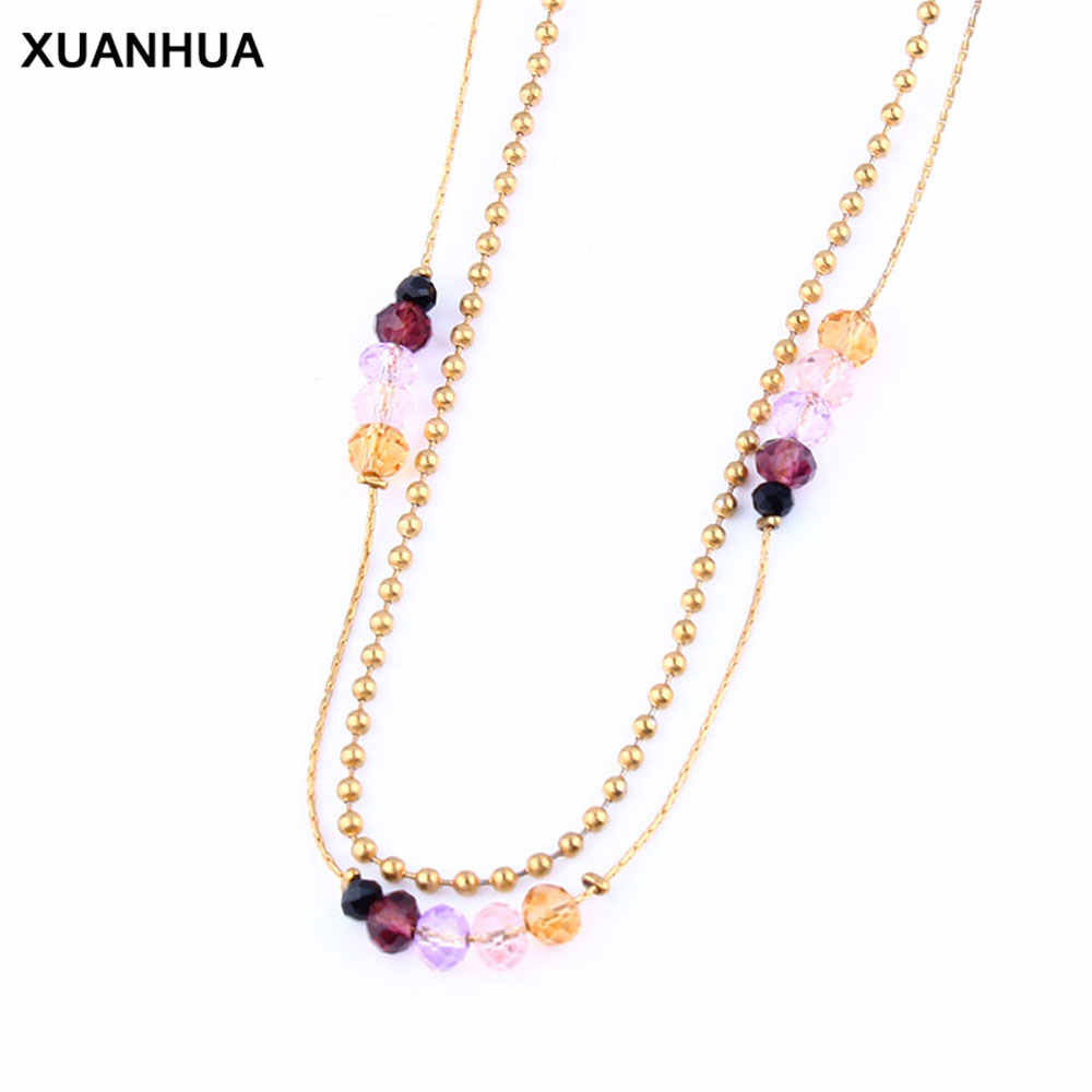 XUANHUA Stainless Steel Chain Necklace Choker  Beads Long Necklace Indian Jewelry Women's Clothing Accessories Fashion Jewelry