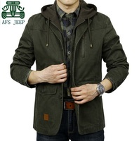 AFS JEEP New Arrival Spring Autumn Detachable Hooded Slim Jackets 100 Cotton Men S Casual Sport