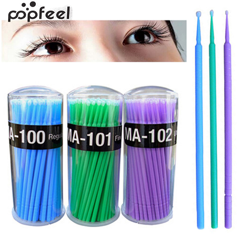 popfeel 100 Pcs Small Disposable Eyelash Extension Micro Brush Applicators Mascara popfeel 100 pcs small disposable eyelash extension micro brush applicators mascara