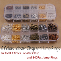 Mix 6 Colors 132Pcs Lobster Clasp And 840Pcs Jump Rings DIY Jewelry Findings For Jewelry Making