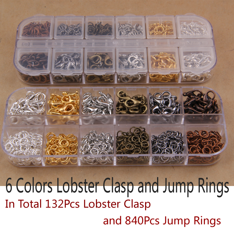 Mix 6 Colors 132Pcs Lobster Clasp and 840Pcs Jump Rings DIY accessories for jewelry,Jewelry Findings for Jewelry making