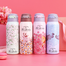 цена на 350ml Sweet Kids Baby Feeding Cup Floral Printed Toddler Infant Thermos Bottle Winter Keep Hot Water Bottle Children Lovely Cup