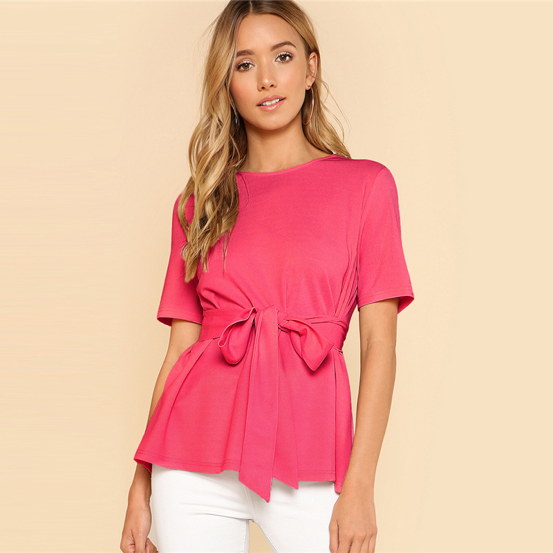 Sheinside Self Belt Keyhole Back Blouse Solid Short Sleeve Top 18 Summer Women Office Ladies Work Elegant Blouse 24