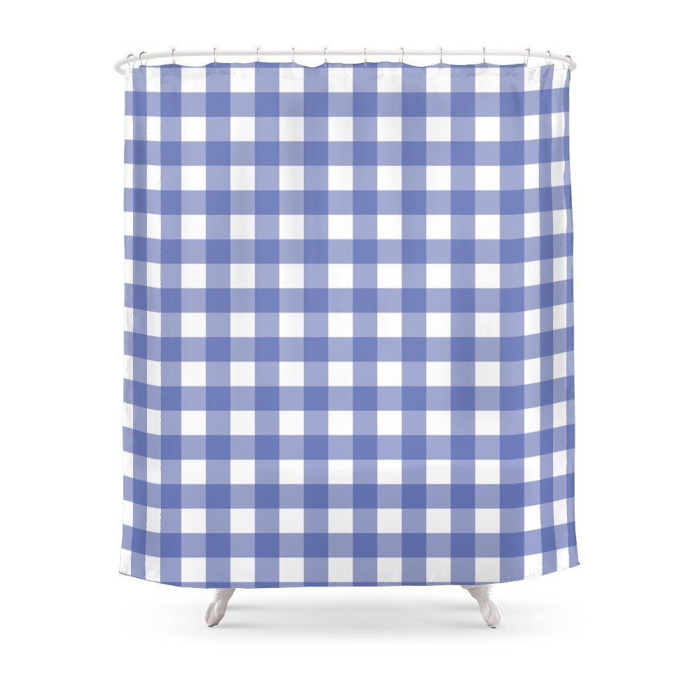 Purple Buffalo Check Shower Curtain Set Waterproof Polyester Fabric Bath For Bathroom With Non Slip Floor Mat In Curtains From Home Garden
