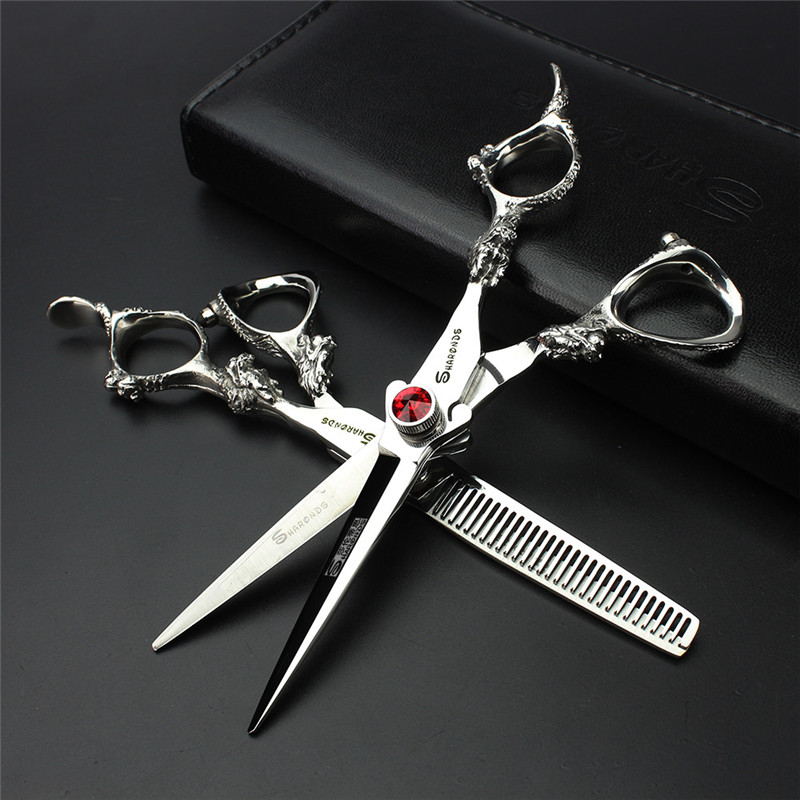 Hair Scissors 440C 6 inch 9cr Professional Barber Hairdressing Scissors Rotation Screw Carving Long Handle Free Delivery ...
