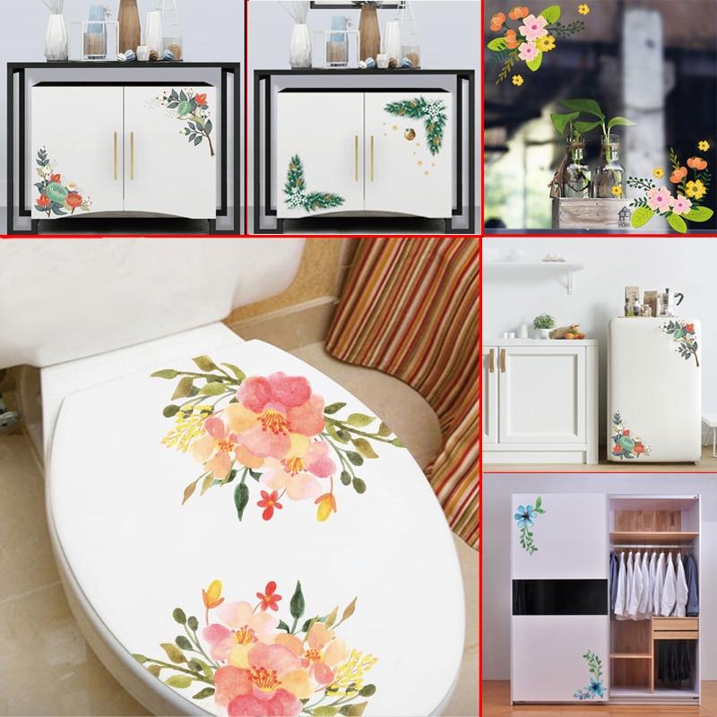 Beautiful Flowers Wall Sticker For Toilet Fridge Cupboard Glass Window Wedding Home Decorations Wallpaper Mural Stickers Decals
