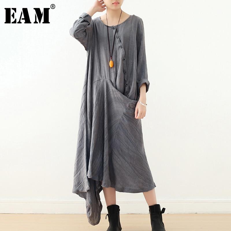 [EAM] 2019 nouveau printemps été col rond à manches longues bouton gris irrégulière Split Joint tempérament robe femmes mode JT895