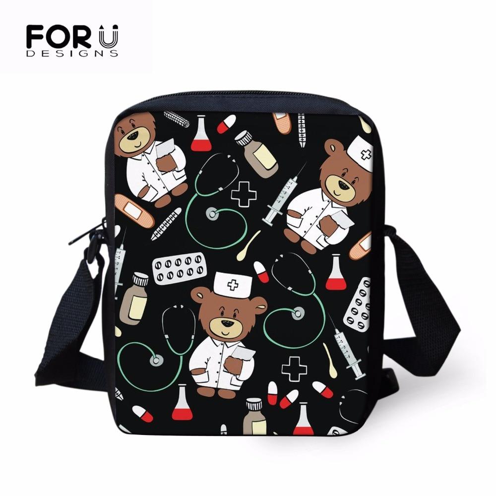 FORUDESIGNS Kids Baby Schoolbag Girls Bags Nurse Doctor Pattern Children Back to School Crossbody Bags Preschool Mini Bags 2018