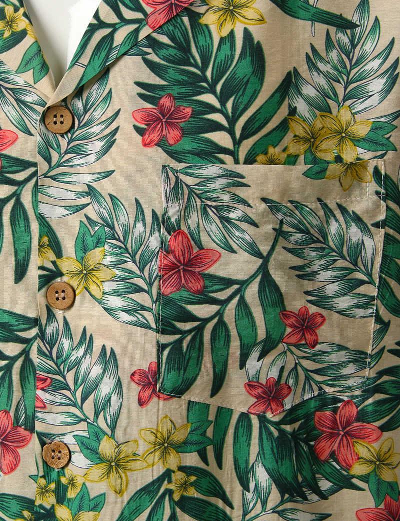 Men S Hipster Casual Button Down Tropical Floral Print Hawaiian