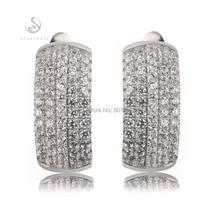 Promoción Blanco Cubic Zirconia joyería Plateada Plata pendiente de la joyería Ocasional Caliente Hiphop Pendientes lindos para las mujeres R3168