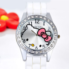 Hello Kitty Watch Rhinestone Cartoon Kids Watches Children's Watches For Girl Jelly Silicone Children's Watch reloj hello kitty