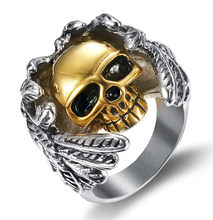Angel Wings Gold Skull Men Ring Gothic Punk Men Stainless Steel Finger Rings Punk Biker Unique Male Jewelry Skeleton Ghost Man(China)