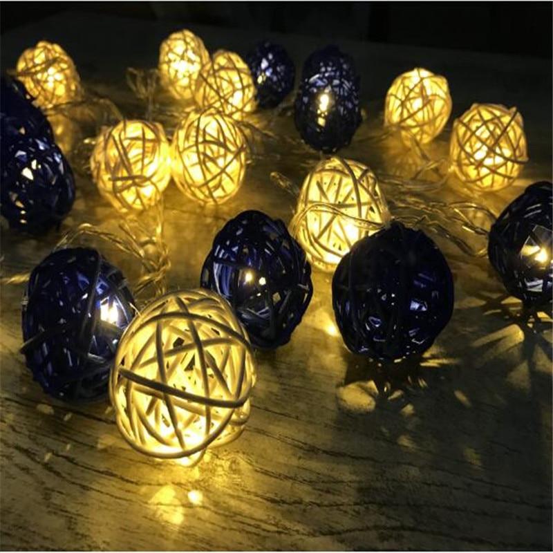 4cm Rattan Balls LED String Lights 1.5m 10 Sepak Takraw Dark Blue/White Outdoor Christmas Wedding Party Decoration Lighting