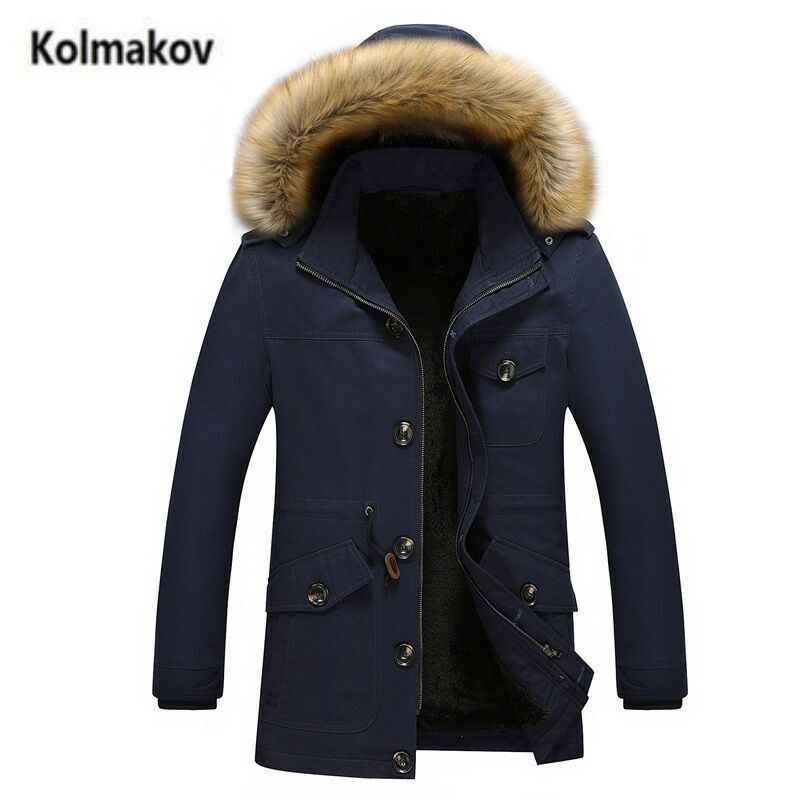 KOLMAKOV 2017 new winter keep warm Men's plus velvet coat,Hooded fur collar long jacket coats parkas men,plus size M-5XL. free shipping winter parkas men jacket new 2017 thick warm loose brand original male plus size m 5xl coats 80hfx