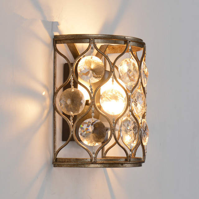 Novelty Style Cast Iron Wall Lamp Crystal Decorative Wall Mounted Light E Corridor Sconce