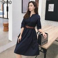 e7d2ea759a6b52 TUHAO Woman Dress For Work 2019 Spring Summer Three Quarter Knee Length  Women S Solid Button. Bekijk Aanbieding. Zakelijke kleding voor Vrouwen  office ...