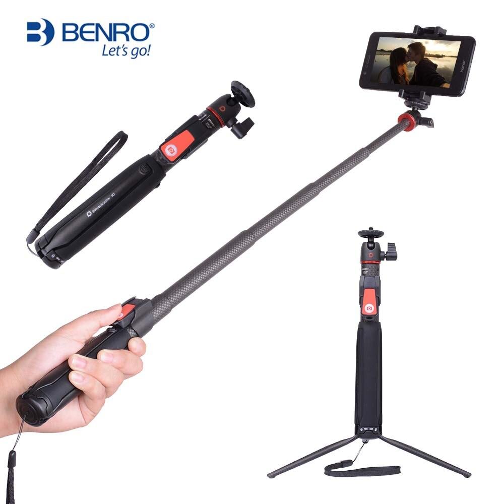 BENRO SC1 sans fil Bluetooth en fiber de carbone flexible selfie bâton trépied de table pour iphone X D'action caméra Gopro Sumsang pk smooth4