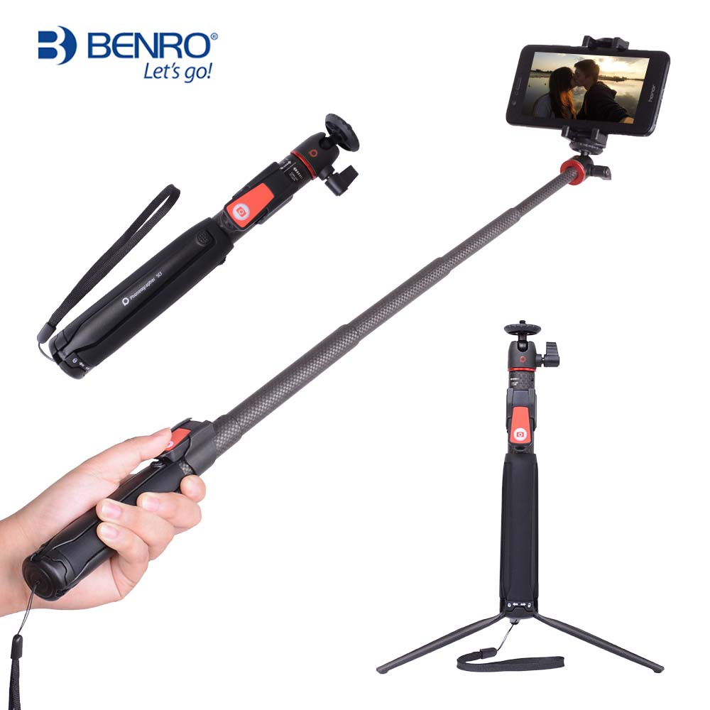 BENRO SC1 wireless Bluetooth carbon fiber flexible selfie stick table tripod for iphone X Action camera Gopro Sumsang pk smooth4