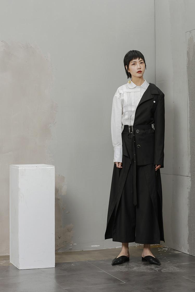 Sui Mode Black Blazer Nouveau À Ceinture Demi Longues De Manches Taille Vestes Personnalité Femmes Designer Spécial Blazers Getsring Manteau XwqUv