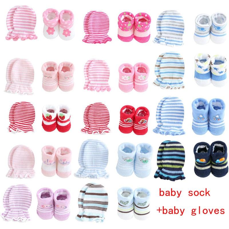 New Cute Cartoon Baby Socks + Gloves Striped Dot Baby Socks Set