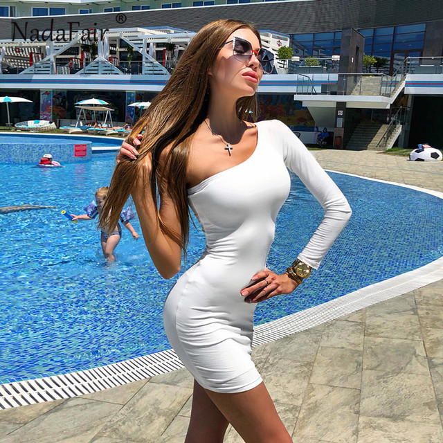 One Shoulder Sexy Club Party Bodycon Dress Summer Women Long Sleeve Stretchy Black White Casual Wrap Mini Dress Red