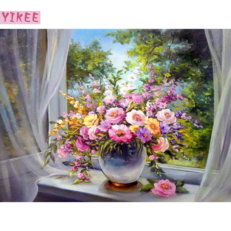 Christmas gift DIY hobby oil painting by numbers still life,flowers in window painting by numbers