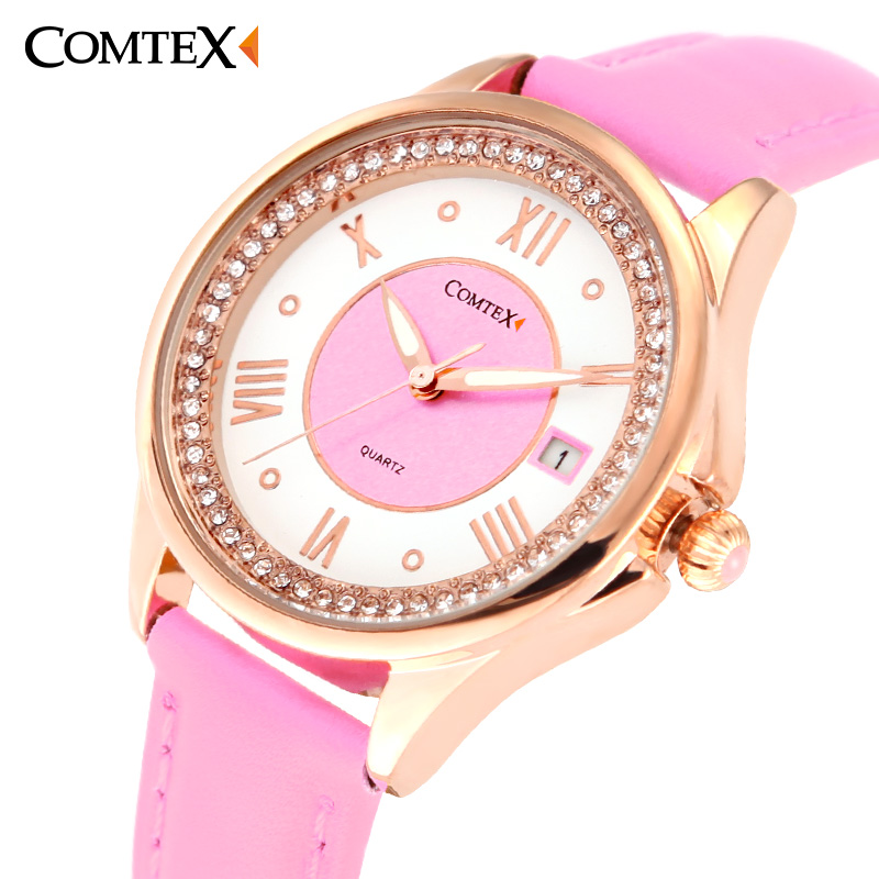 ФОТО Comtex women watches Pink leather dress rose gold elegant ladies watch clock Quartz crystal for gift