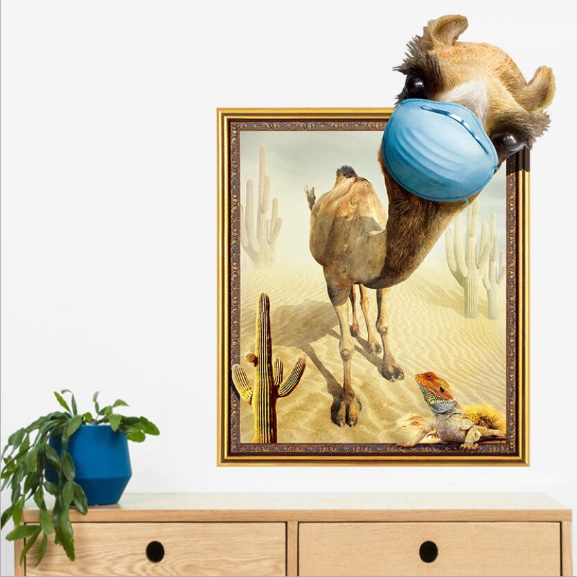 Creative Funny 3d Camel Wall Sticker Desert Cactus Photo Frame Wall ...