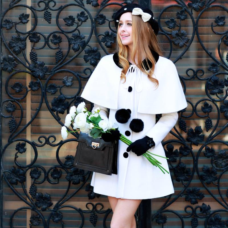 original 2017 winter two pieces fashion long outerwear ladies casual woolen coat cloak wholesale