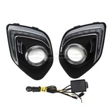 Daytime Running Lights Daylight Waterproof Fog Head Lamp flash with Signal For Mitsubishi ASX 2013 2014 LED Car light DRL цена 2017