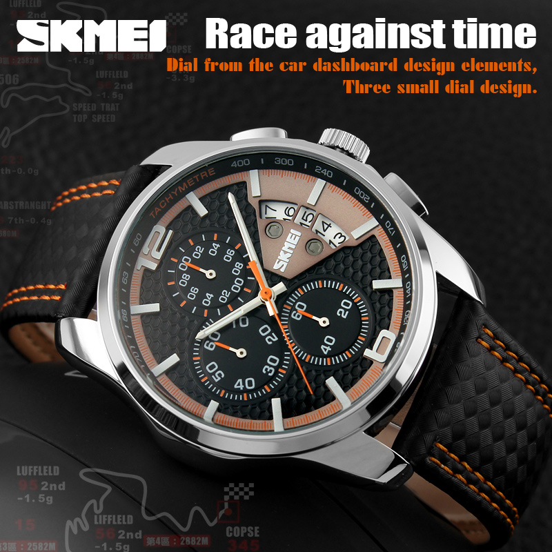 New Top Brand Luxury Quartz Watch Men Outdoor Sports Chrono Leather Band Waterproof Wristwatches Relogio Masculino SKMEI Watches 2017 new top fashion time limited relogio masculino mans watches sale sport watch blacl waterproof case quartz man wristwatches