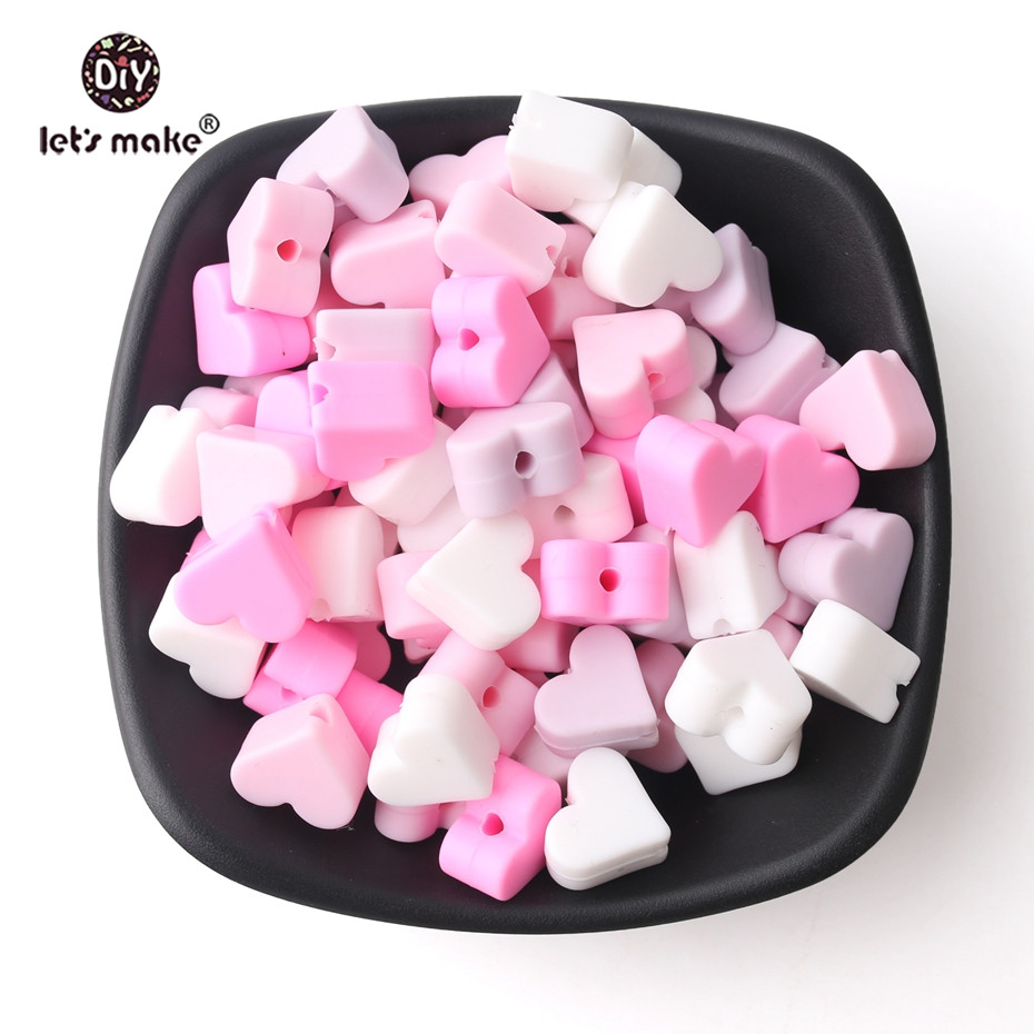 Let's Make 30pc Perle Silicone Beads Heart Shaped Silicone Teething 14mm Baby Products DIY Necklace Nurse Gifts Toy Baby Teether