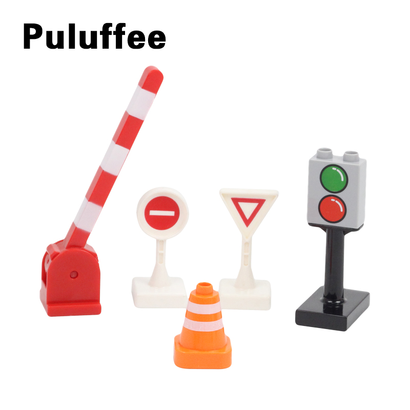 5Pcs Big Size Building Blocks Traffic Sign Traffic Lights