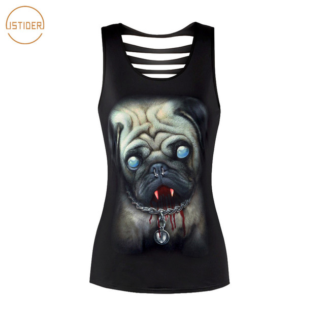 dfc8772fabe2c6 ISTider 2018 New Summer Tops 3D Zombie Dog Pug Printing Hollow Out Black  Sleevesless Tank Top Women Harajuku Sexy Tank Tops