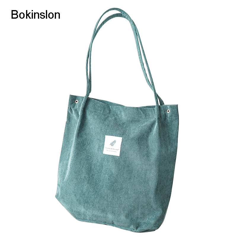 Bokinslon Corduroy Woman Shoulder Bags Literature And Art College Wind Women Bags Large Capacity Simple Ladies Bags new woman shoulder bags cute canvas women big bags literature and art cartoon girls small fresh bags casual tote