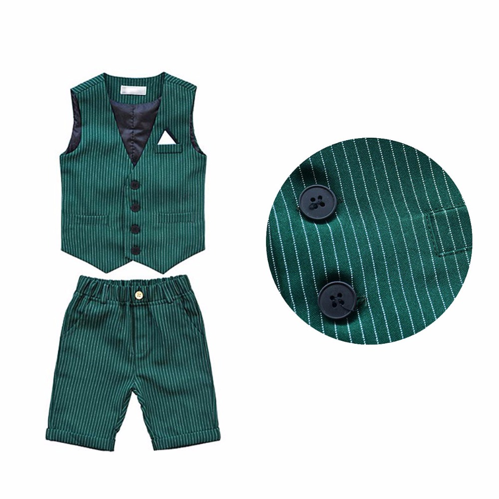 d4774b23 Summer Wedding Party Suit for 3 8 Year Boys Fashion Striped Children  Waistcoat Shirts and Shorts Toddler Kids Tuxedo Prom Suit-in Suits from  Mother & Kids ...