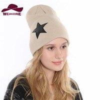 2015 Hot Winter Hat Women Weave Wool Caps New Fashion Skullies Beanie Soft Hats Star Pattern