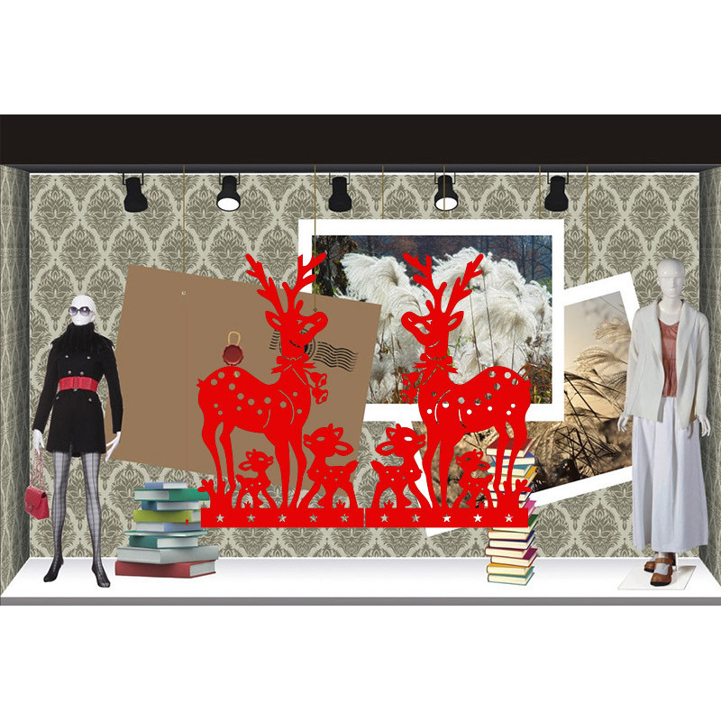 ZUCZUG New Merry Christmas Deers Wall Stickers Removeable Living Room Glass Decoration Diy Home <font><b>Decals</b></font> Festival Xmas Mural Art