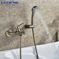 LEDEME Shower Faucet Wall Mounted Antique Brass Polished Bathtub Faucet With Hand Shower Bathroom Bath Shower