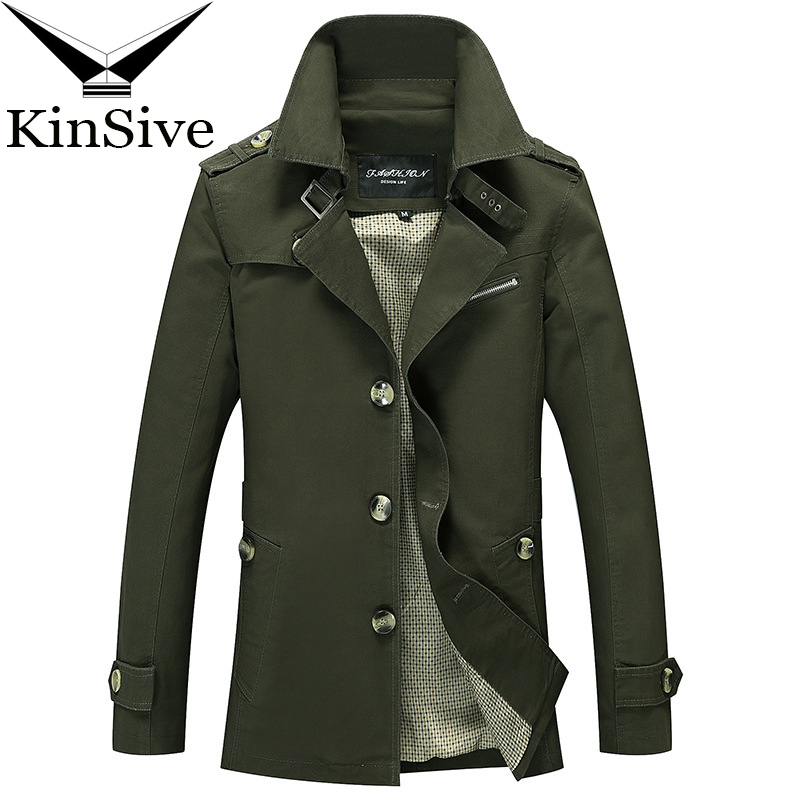 Mens Overcoat Autumn Spring Trench Coat Men Single Breasted Men Outerwear Trenchcoat Casual Long Coat Men's Jackets Windbreaker