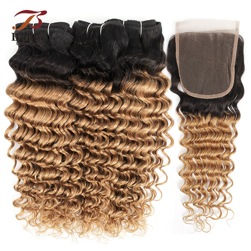 Bobbi Collection 2 3 Bundles with Closure 1B 27 Ombre Honey Blonde Deep Wave Pre Colored