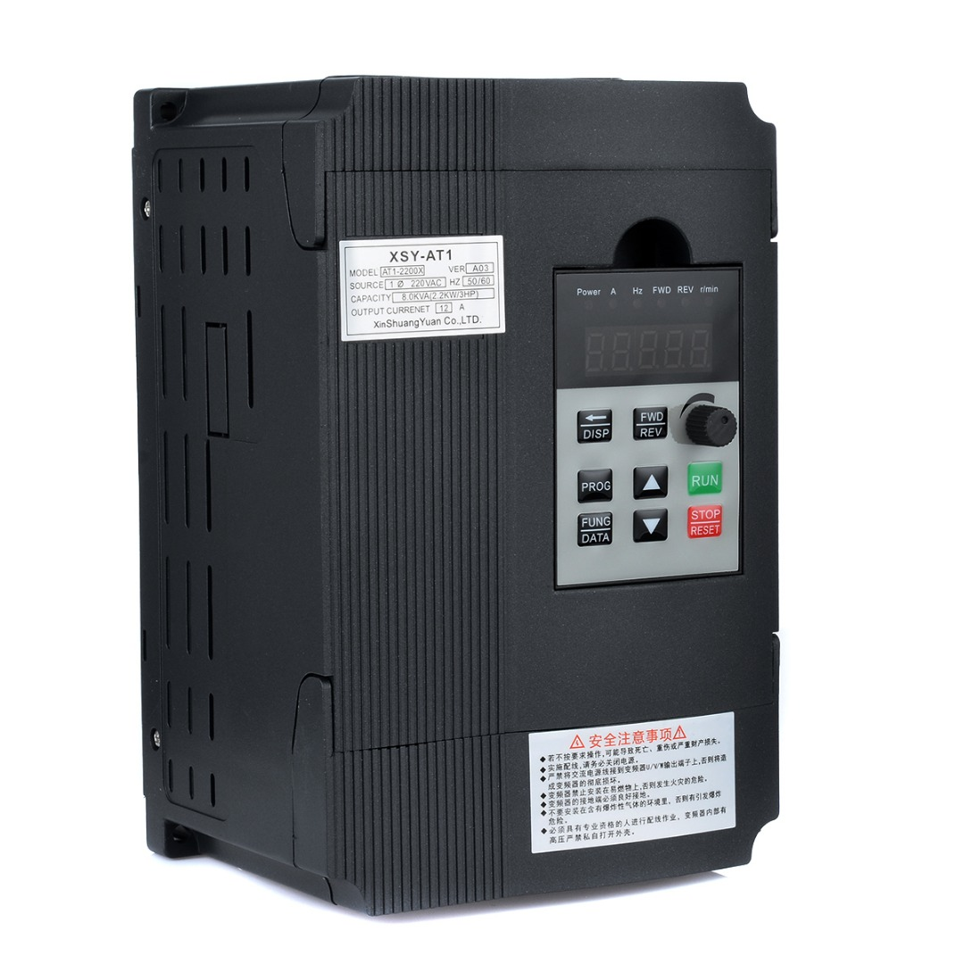 1pc Single Phase Variable Inverter 2.2KW 3HP Frequency Drive Inverter VSD VFD PWM Control 195*130*100mm For Motor Speed Control 7 5kw 220v 10hp top quality frequency inverter for spindle motor speed control